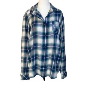 Roots Canada flannel button down long sleeve blouse/shirt green purple sz large